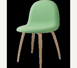 GUBI 3D celočalouněná židle,  světlezelená, dřevěná podnož