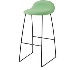 GUBI 3D stool fully upholstered seat, sledge base